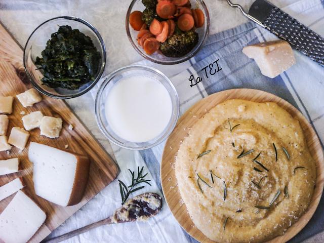 Polenta ticinese con accompagnameti di verdure e formaggi di montagna