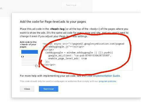 kode iklan adsense page level ads