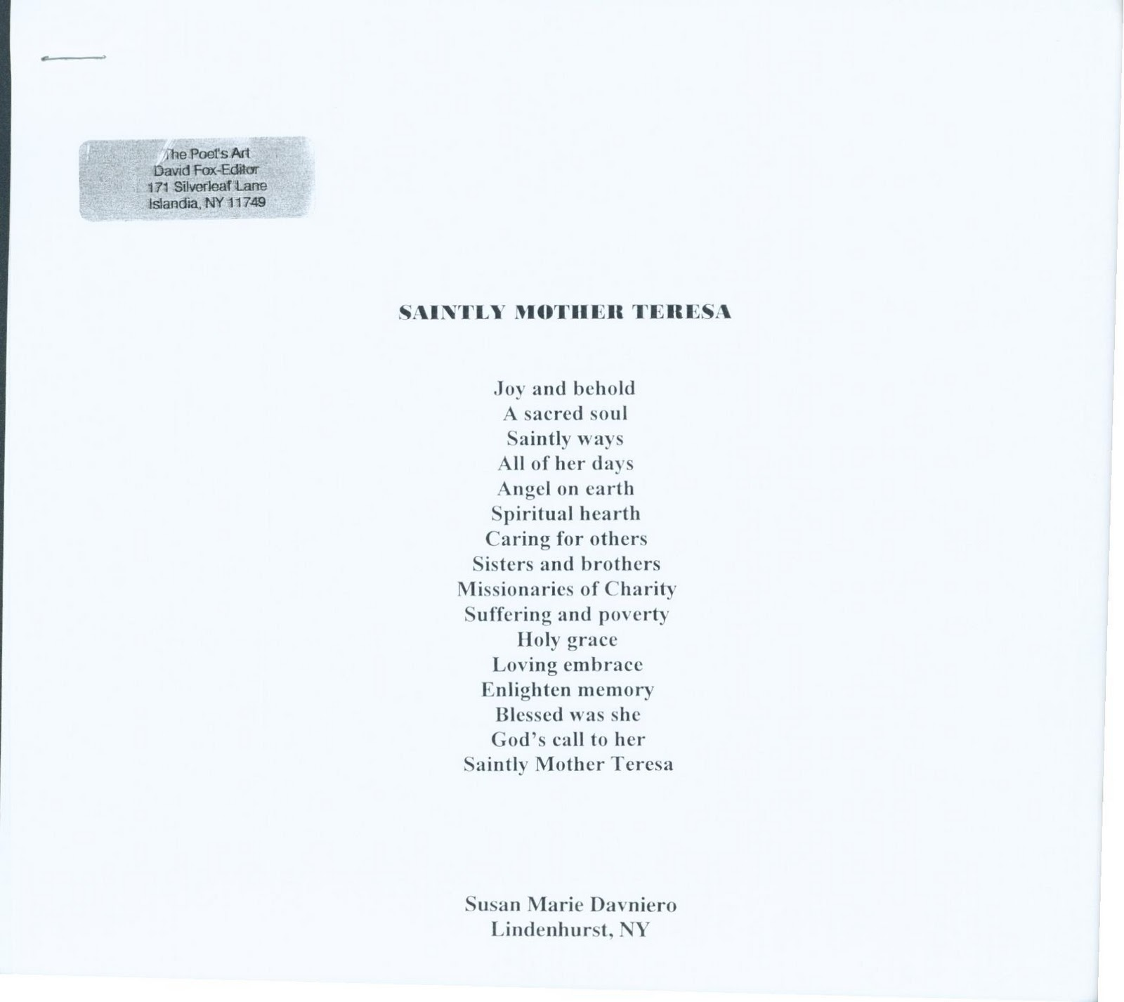 From The Great Poem: Susan Marie Davniero: Poems On Famous People