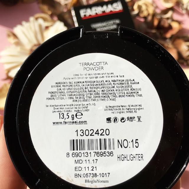 farmasi terracotta powder aydınlatıcı pudra highlighter içerik