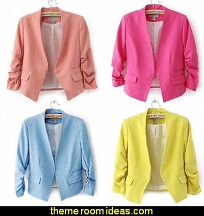 Stylish Women  Candy Color Thin Suite Outerwear 3/4 Sleeve Coat Mini Blazer