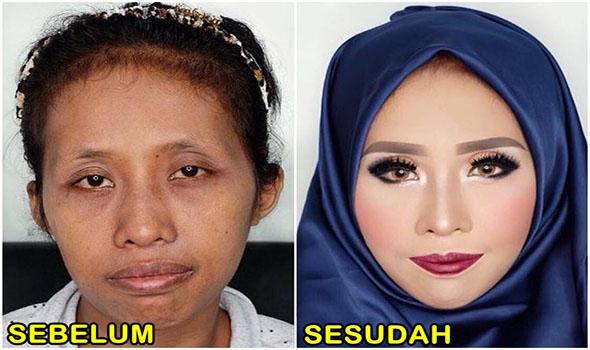10 Perubahan Cewek Sebelum Dan Sesudah Mengenakan Make-Up