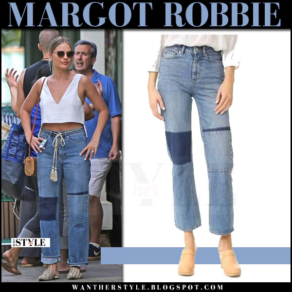 Margot Robbie in crop top and patch jeans la vie rebecca taylor what she wore may 16 2017