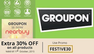(Updated) Groupon: Get 30% Extra Off on All Products or Rs.100 Off on Rs.300 + Extra 15% Cashback using Mobikwik Wallet