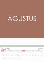 Simple Desain Kalender 2019 Indonesia vulan Agustus beserta Hari Libur Nasional