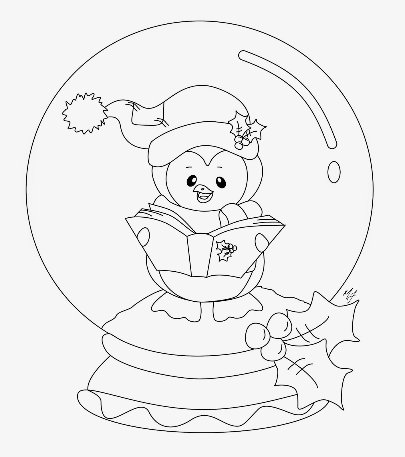 christmas snow globes coloring pages | CraftyCat957: FREEBIES & BLOG HOP