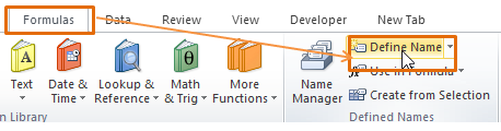 Define Name Excel
