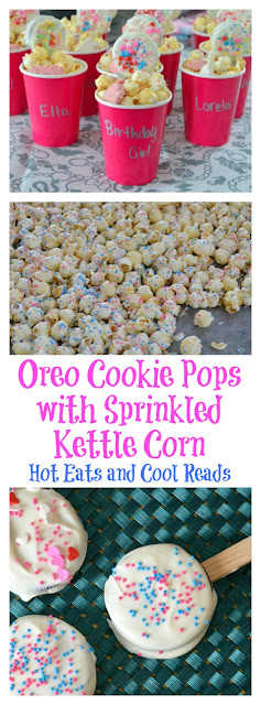 Perfect for kids birthday parties! Customize with different colored sprinkles! Oreo Cookie Pops with Sprinkled Kettle Corn Recipe from Hot Eats and Cool Reads