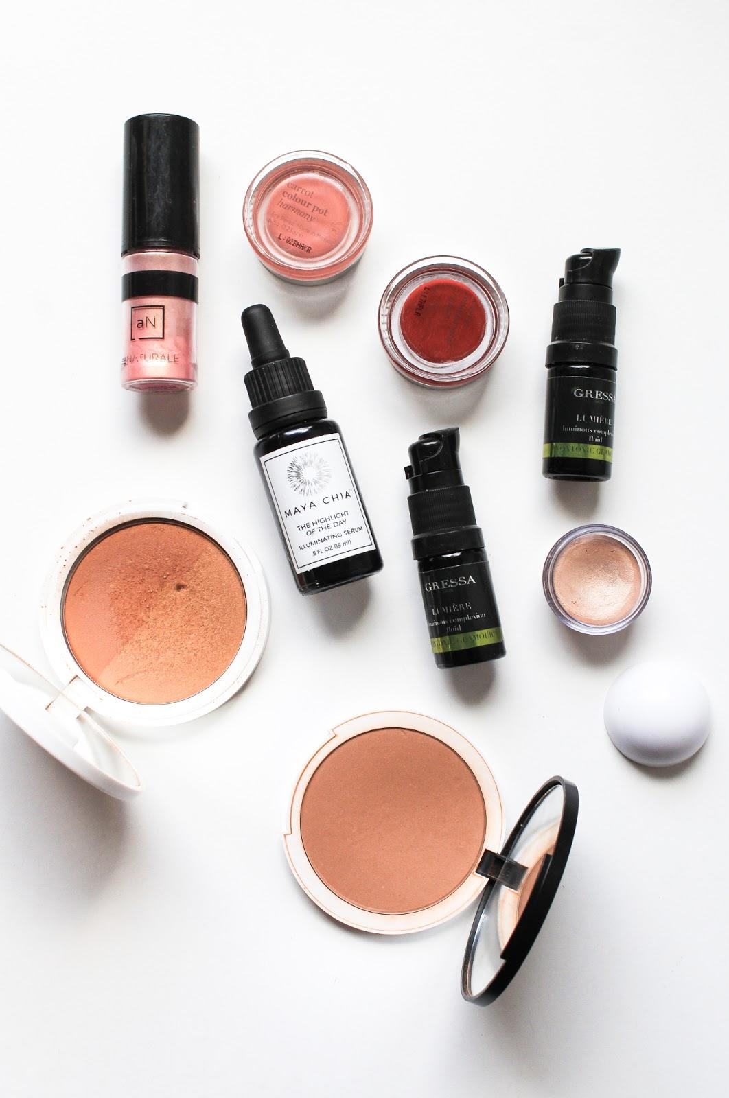 Natural Organic Makeup Bronzer, Blush, Highlighter, Au Naturale, Ere Perez, Maya Chia, Gressa, Lily Lolo, Modern Minerals
