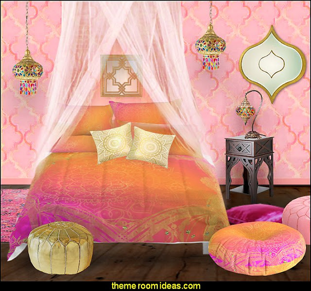 I Dream of Jeannie theme bedrooms - Moroccan style decorating - Jeannie bedroom harem style - Arabian Nights theme bedrooms - bed canopy - Moroccan stencils - I dream of Jeannie bottle - satin bedding - throw pillows - Moroccan furniture - Aladdin bedroom ideas - Princess Jasmine decor - Arabian princess costume -  Harem Costumes