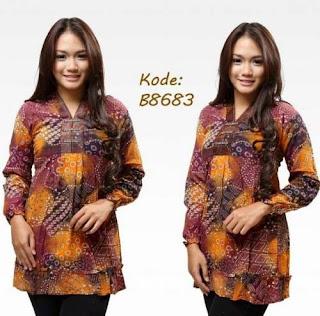model baju batik kantor lengan panjang untuk wanita