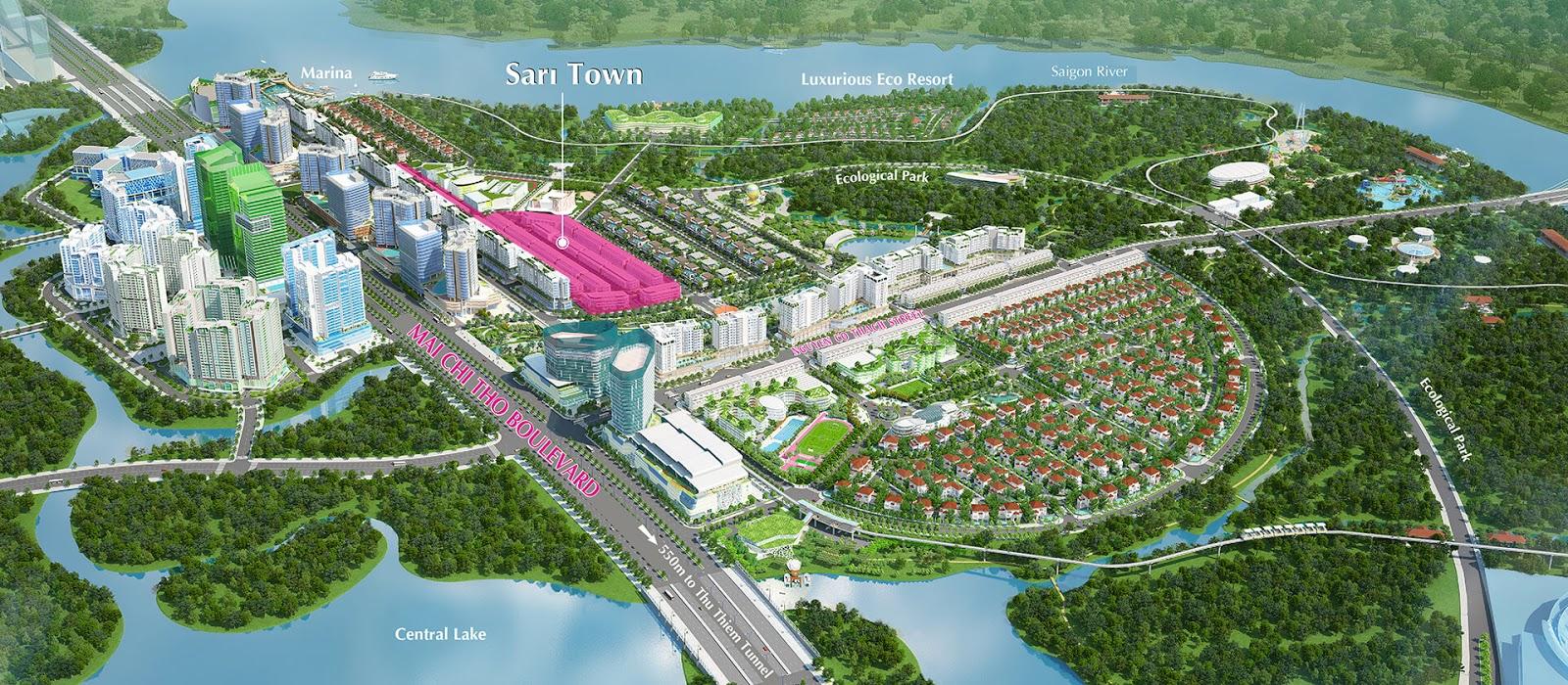 Vị trí khu nhà phố Shophouse Sari Town