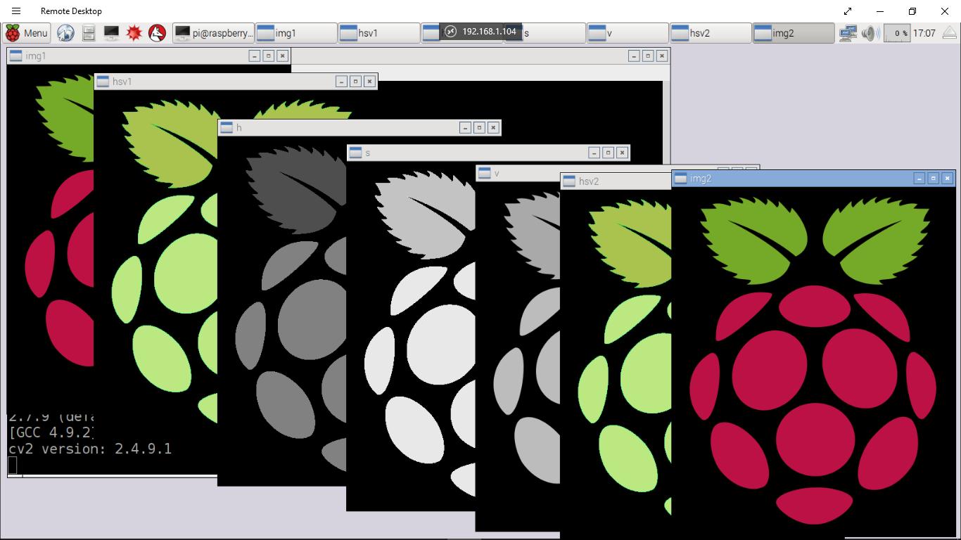 Hello Raspberry Pi: Python + OpenCV: convert RGB to HSV and reverse
