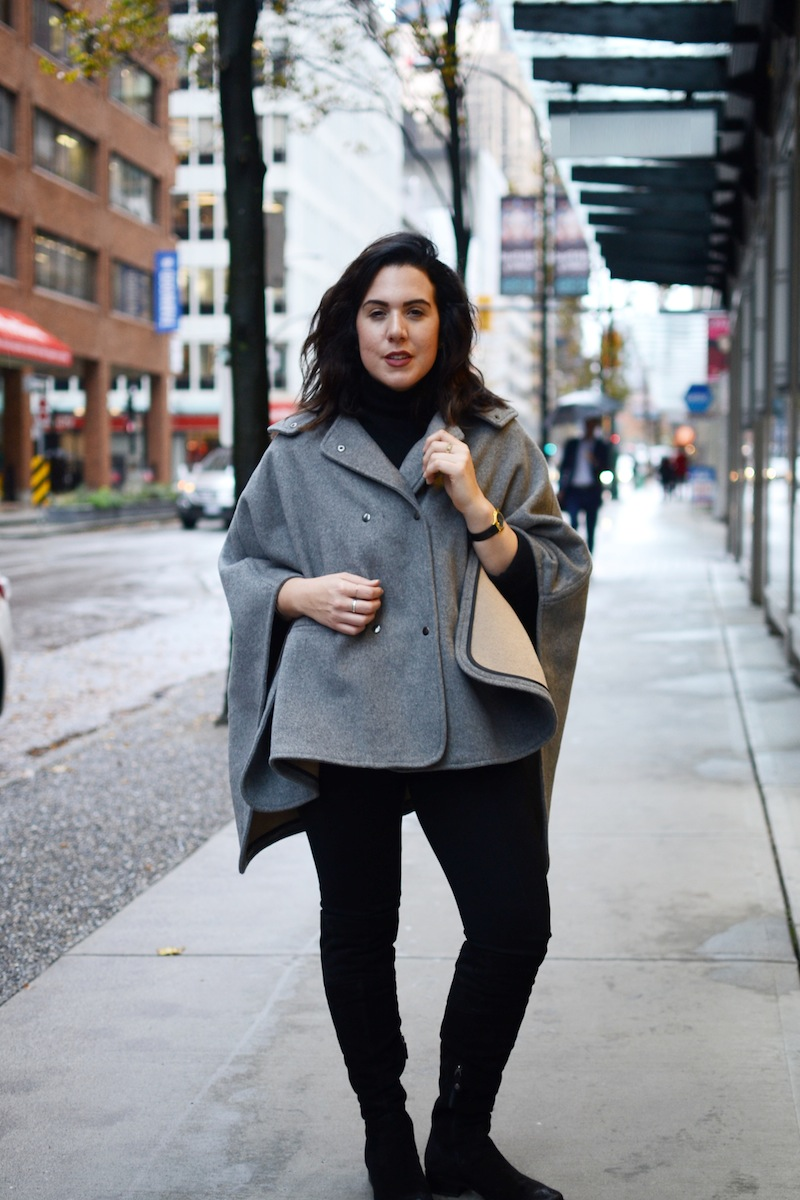 Geox over the knee boots Noel Asmar cape winter fashion outfit vancouver fashion blogger