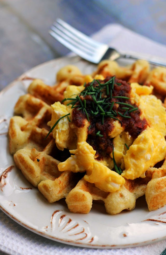 Savory Cornmeal Waffles with Eggs and Salsa