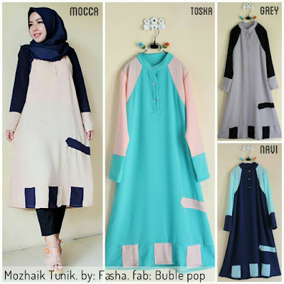 model atasan baju muslim tunik satin