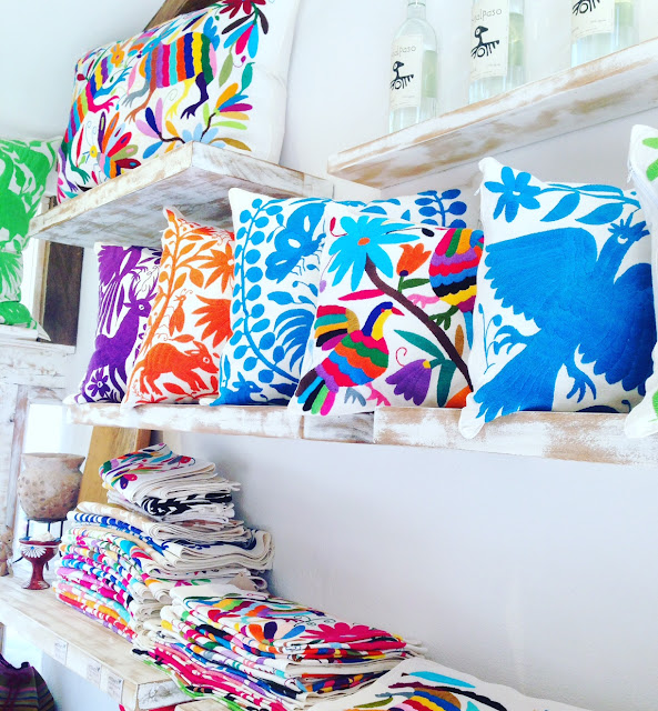 amazing embroidered textiles in a shop in Sayulita Mexico