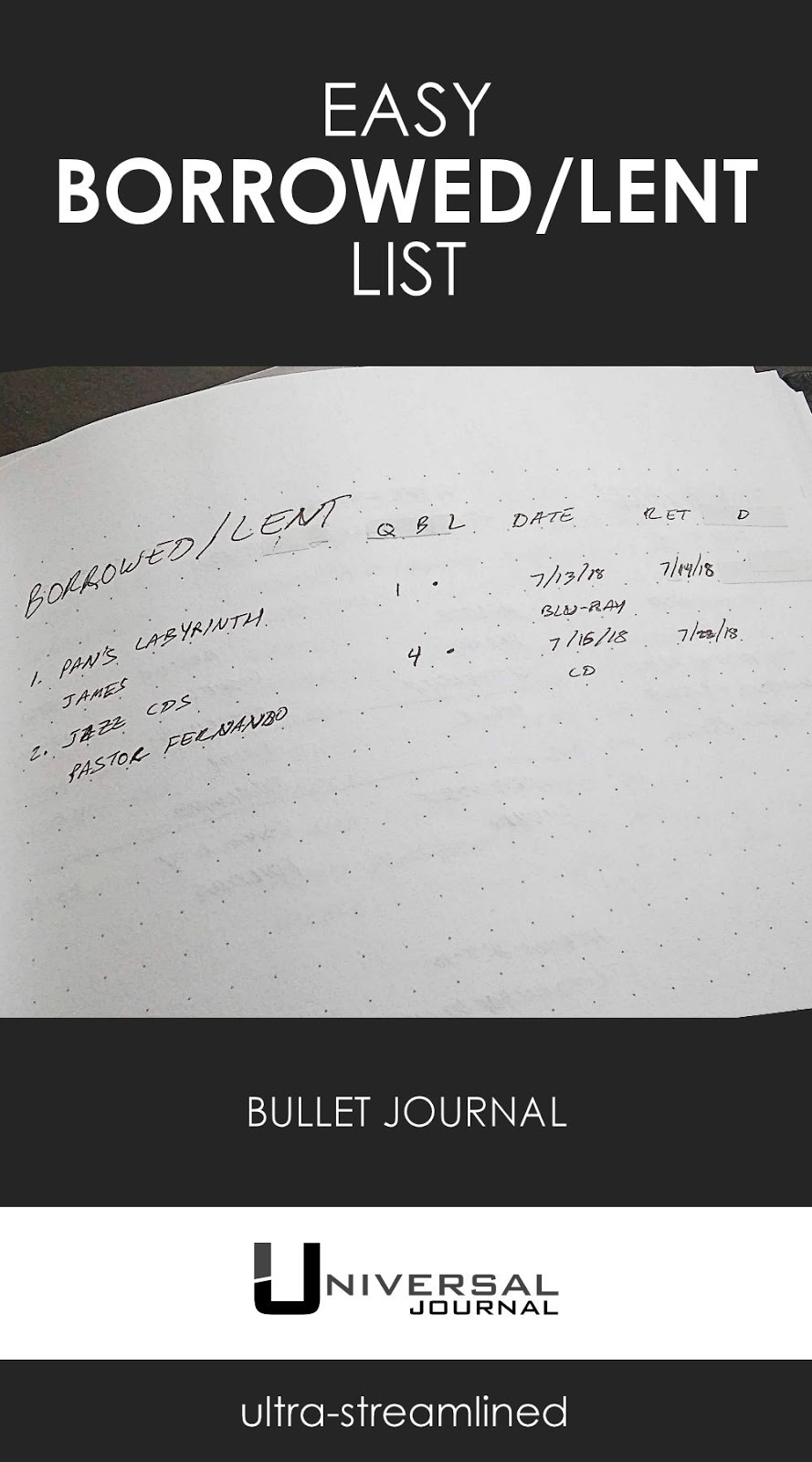 bullet journal easy borrowed lent list