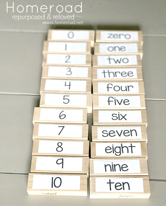 Number matching game numbers and number words