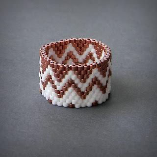 Кольцо из бисера - медное с белым анна белоус anabel27