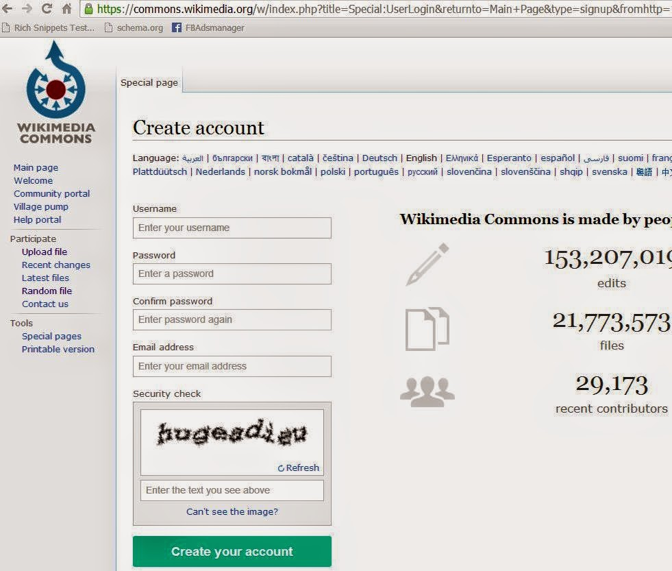 create account at Wikimedia commons