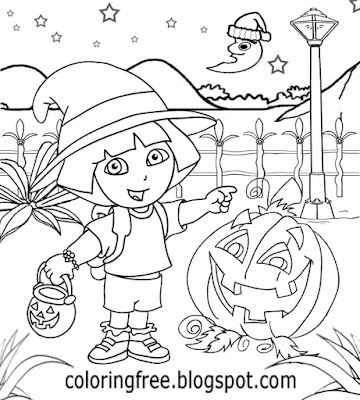 Cute pumpkin light Dora the explorer cartoon Halloween coloring pages for girls fairytale adventure