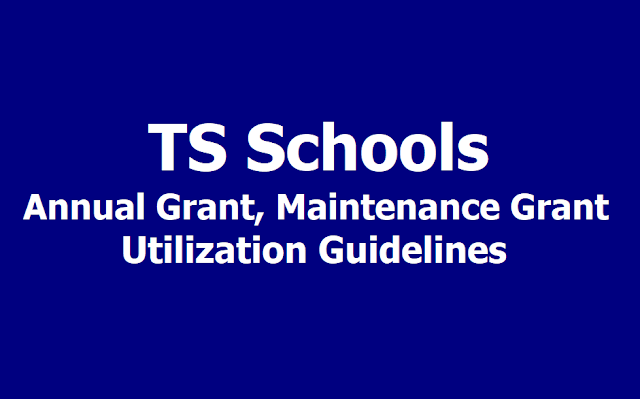 TS Schools Annual Grant, Maintenance Grant Utilization Guidelines/ Norms 2018-2019
