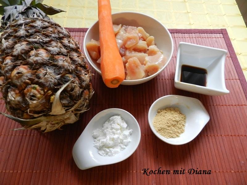 Zutaten Hühnchen mit Ananas