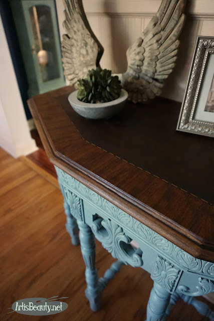persian blue general finishes milk paint occasional half table library painted regency style