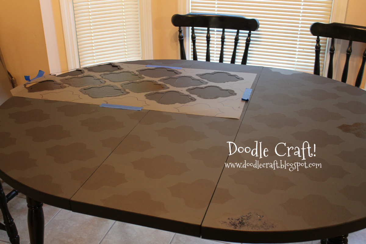 Doodlecraft: Stencil a Round Kitchen Table tutorial!