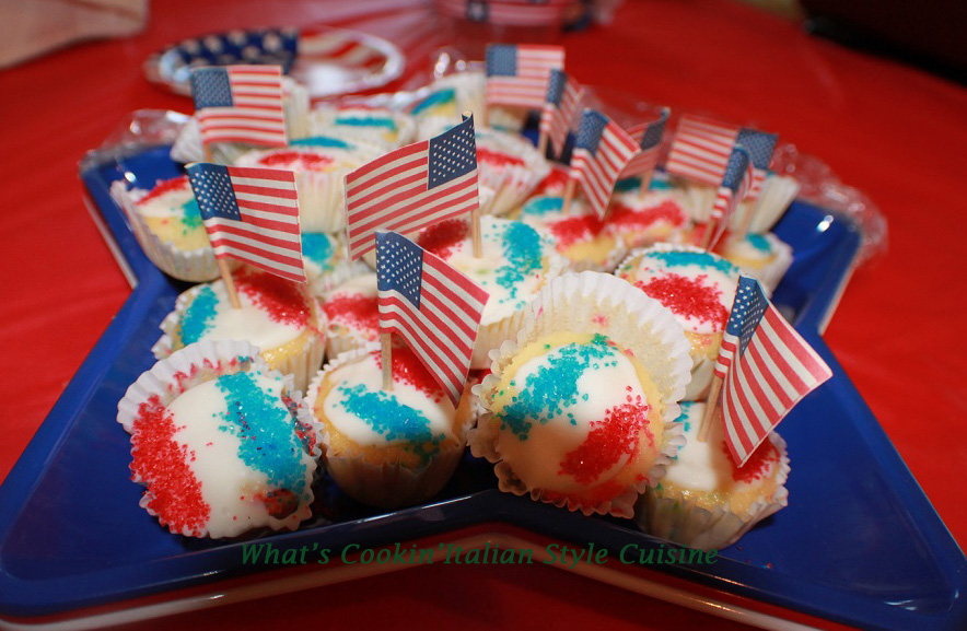 red white and blue cupcakes decorated for 4th of july or memorial day