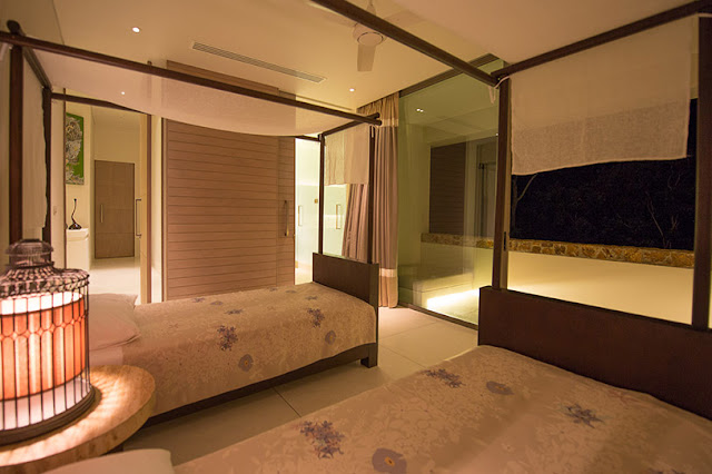 Picture of modern bedroom at night