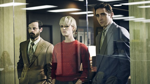 Scott McNairy, Mackenzie Davis y Lee Pace en Halt & Catch Fire