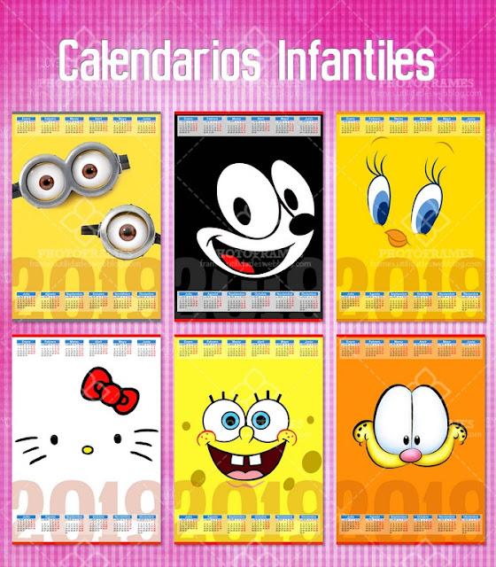 Calendarios de caricaturas infantiles para el año 2019