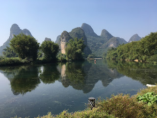 A serene look at the Karst formation/mountains and the Li River near Guilin, China