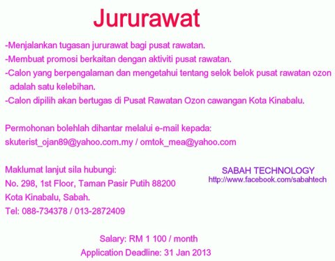 Job Opportunity in Sabah : January 2013