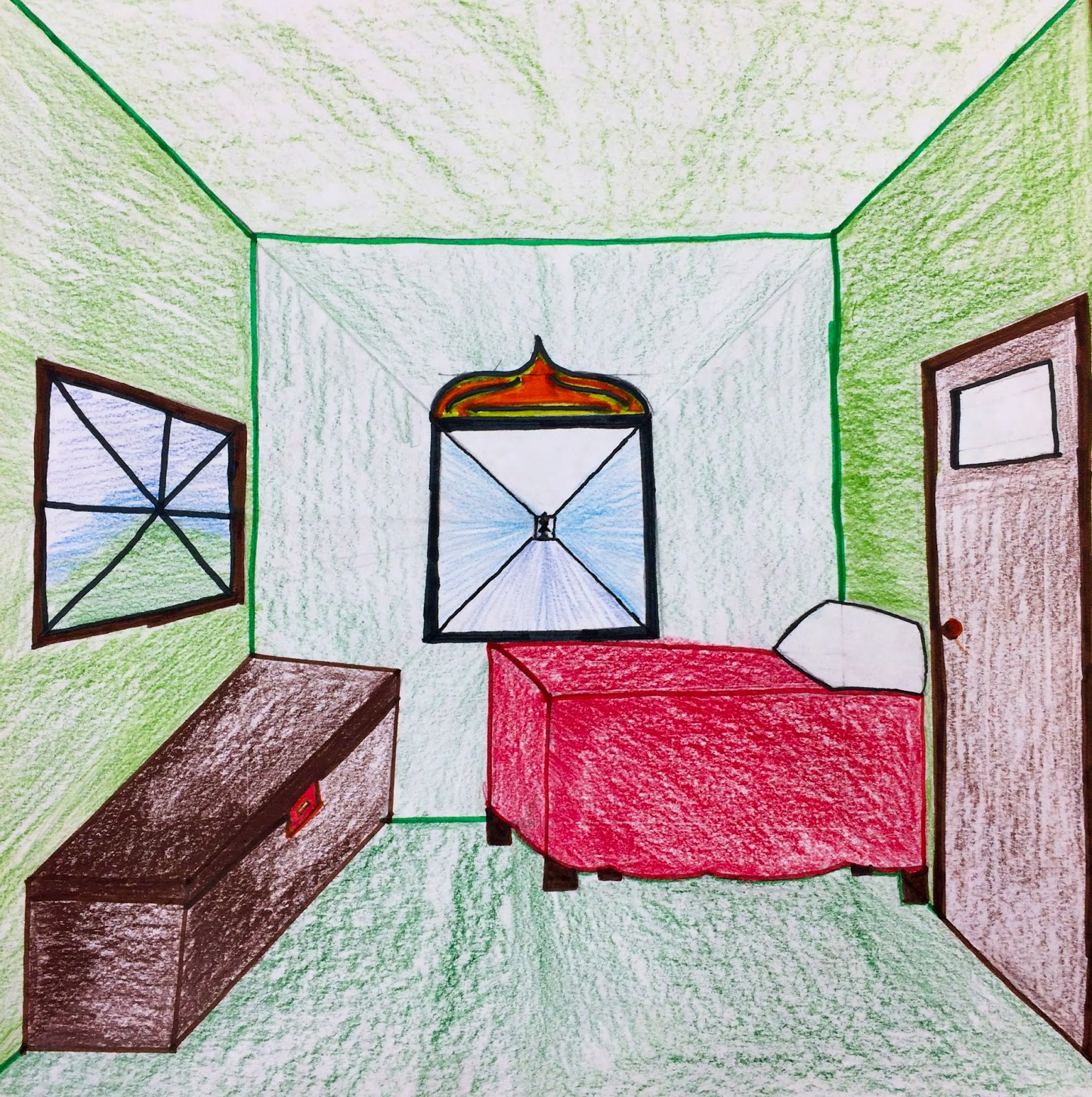 Bedroom One Point Perspective Bedroom Interior Paint Bedroom Chairs With Footstool Bedroom Paint Colours Blue: The Helpful Art Teacher: Draw A Surrealistic Room In One