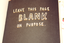 a page of wreck this journal by keri smith which reads 'leave this page blank on purpose'