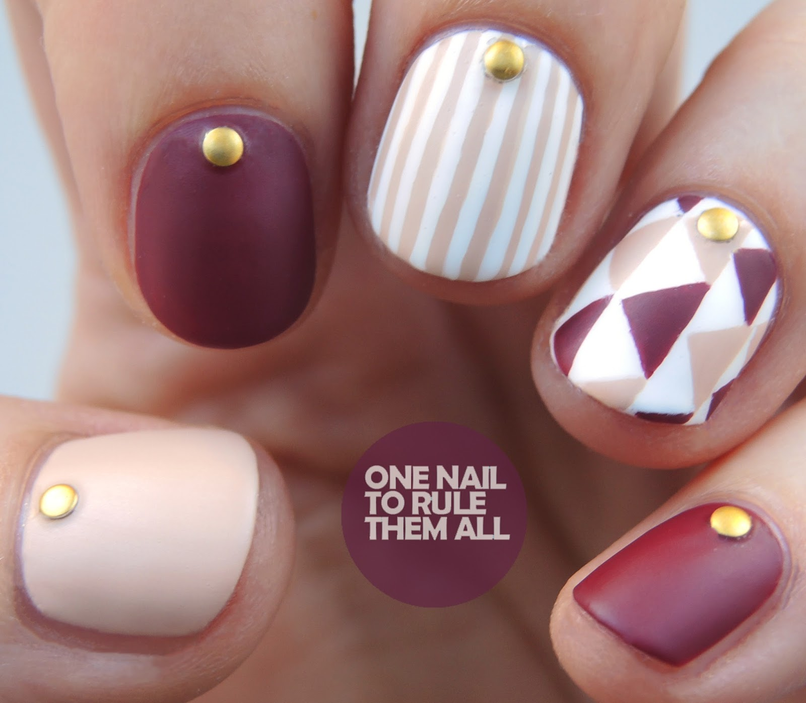 One Nail To Rule Them All Barry M Nail Art Pens Review: Burgundy Geometric Stripes Nail Art