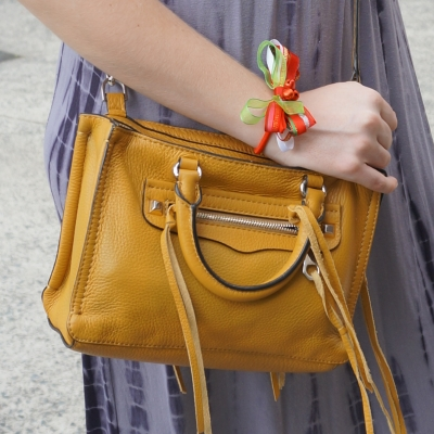 Christmas bow bracelet (with bells!) and Rebecca Minkoff micro Regan satchel in Harvest Gold | awayfromtheblue