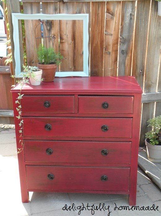 Delightfully Homemade Distressed Red Dresser