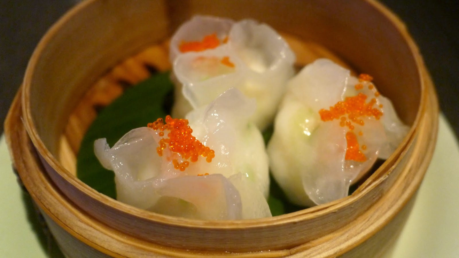 Yauatcha lobster dumpling with tobiko caviar with ginger and shallot