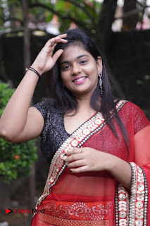 Actress Sasi Pictures in Red Saree at Manjal Movie Audio Launch  0001