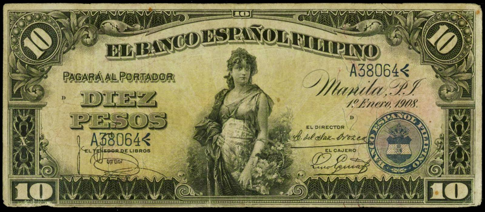 US Philippines currency 10 Pesos note 1908 Banco Espanol Filipino