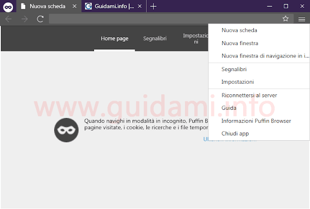 Puffin browser finestra navigazione incognito