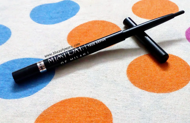 The Mistral Of Milan True Define Eyeliner is a matte black kajal, quite long lasting for daily wear, smudge proof, glides on effortlessly, comes in a retractable packaging so convenient to use.