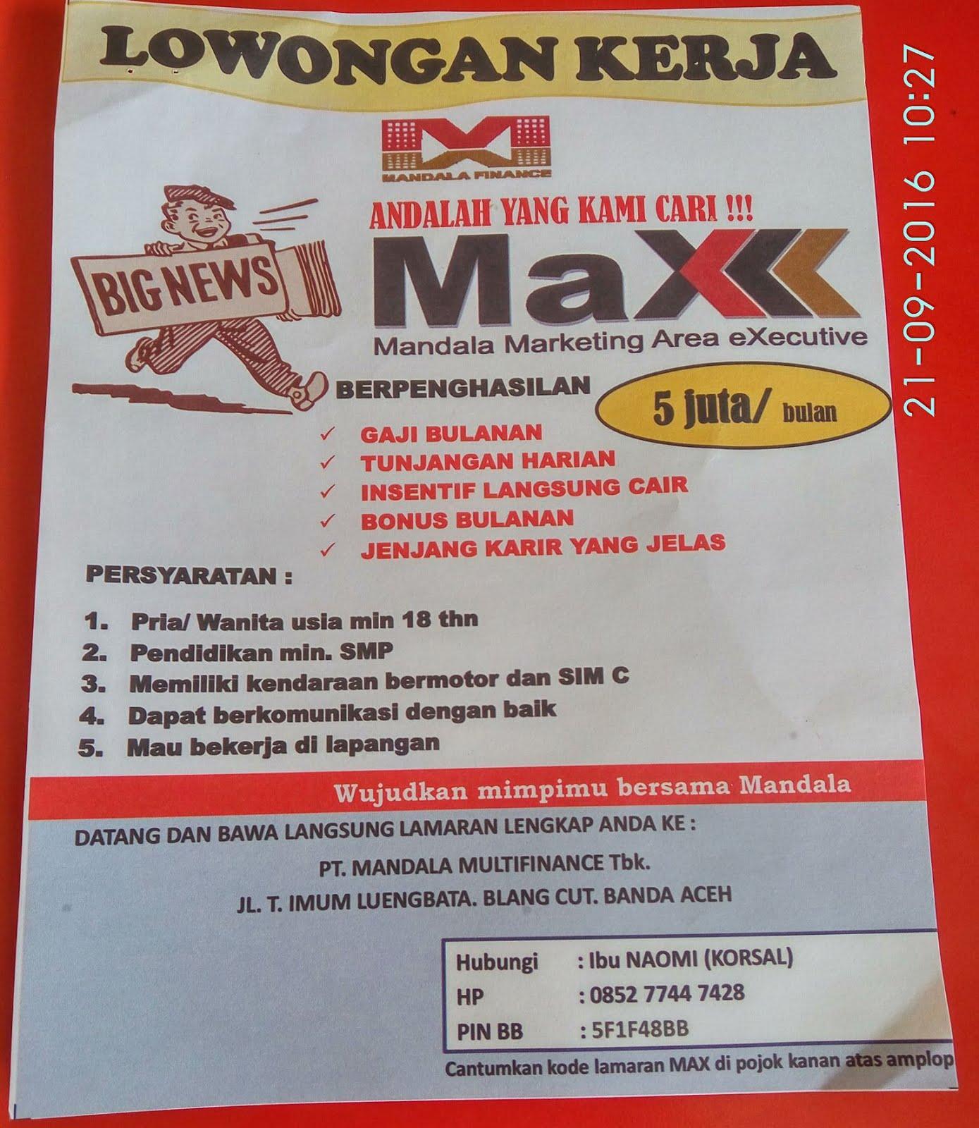 Lowongan Kerja di PT.Mandala Multifinance,Tbk Cabang Banda Aceh