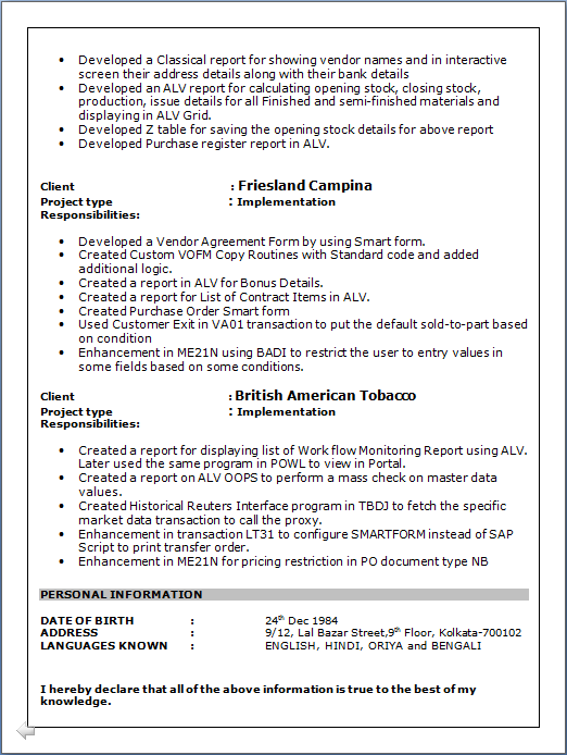 sle sap resume copy