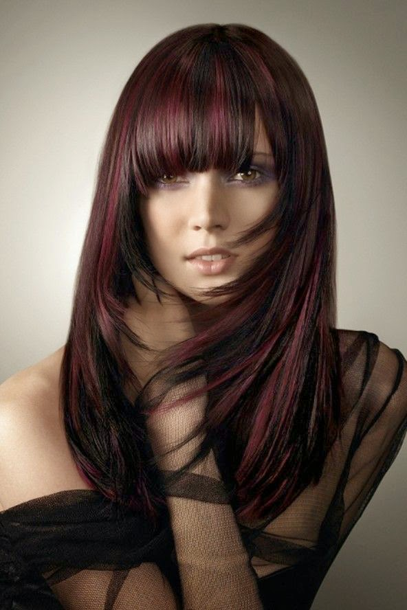 Burgandy hair color mixed with a violet kicker and added a two toned ...