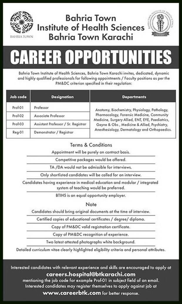 teaching Jobs in Bahria Institute of Health Sciences Jobs 2018
